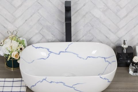 byl2006-10 Jingdezhen marbled rectangle blue line ceramic washbasin