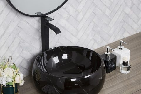 byl2006-16 Bright black marble round porcelain table basin