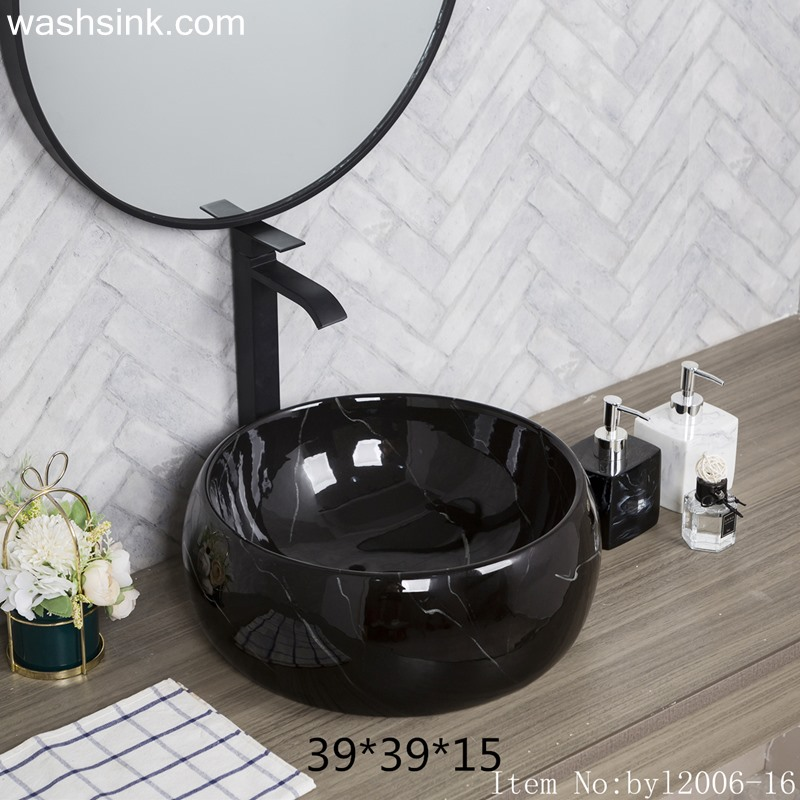 Bright black marble round ceramic table basin byl2006-16