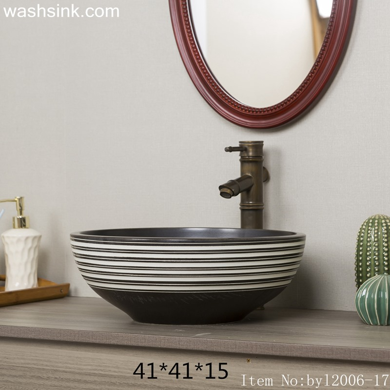 Black and white striped round ceramic table basin byl2006-17