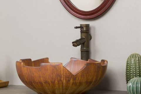 byl2006-18 Orange solid wood shaped ceramic washbasin
