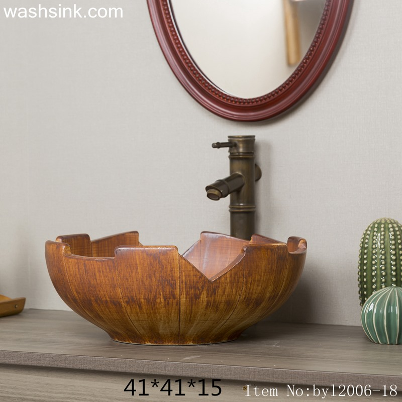 Orange solid wood shaped ceramic table basin byl2006-18