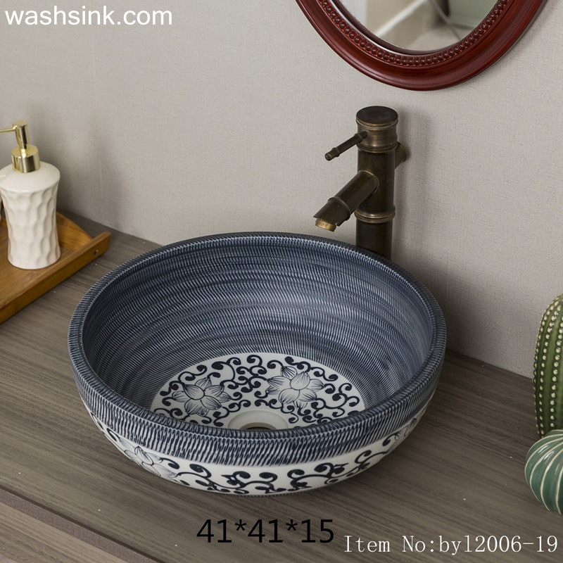 Marbled round ceramic table basin byl2006-19