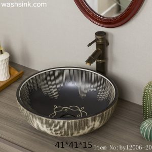 byl2006-20 Black marbled round porcelain washbasin