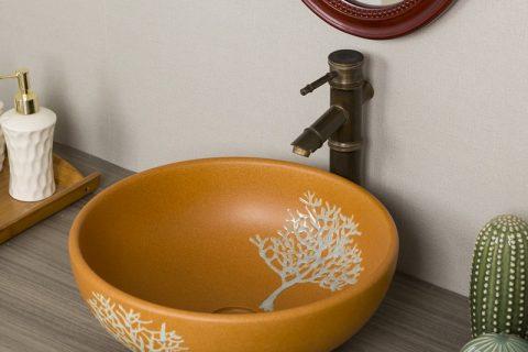 byl2006-21 Orange marbled tree patterned porcelain washsink