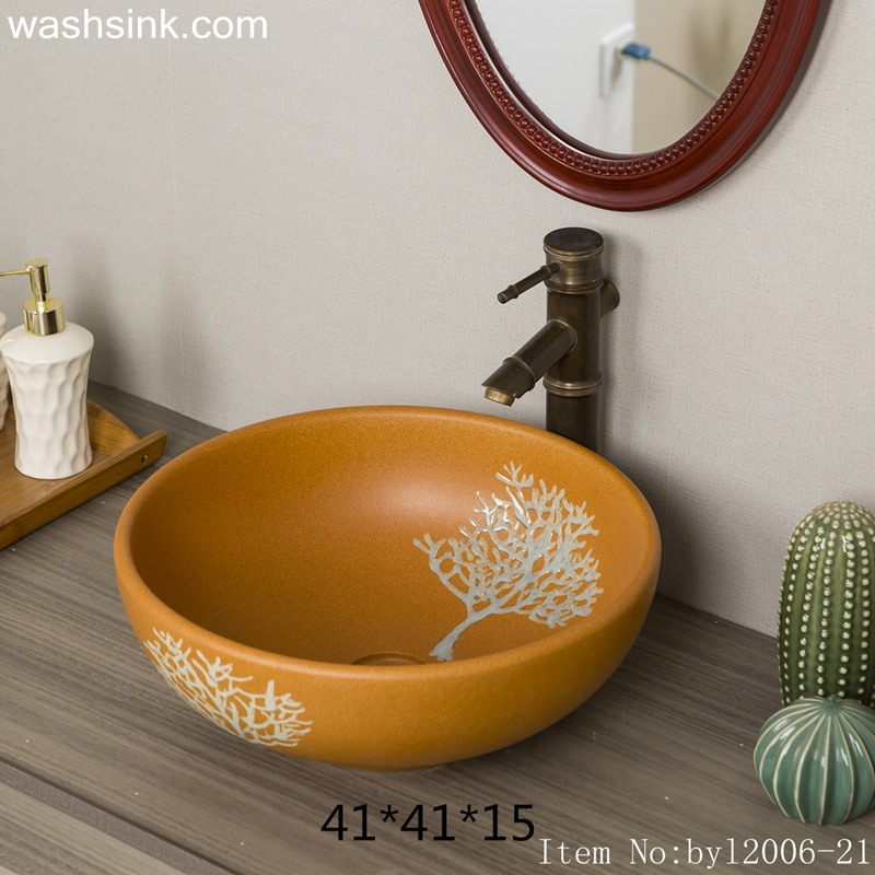 Orange marbled tree patterned ceramic washsink byl2006-21