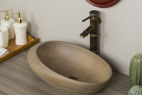 byl2006-26 Brown marbled oval porcelain wash basin