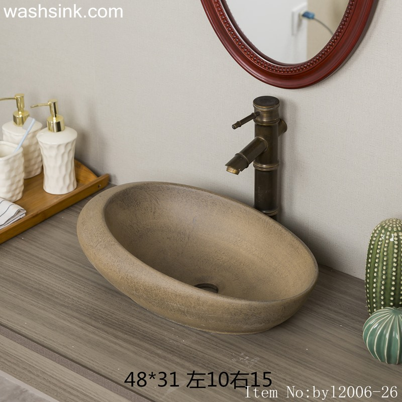 Brown marbled oval ceramic table basin byl2006-26