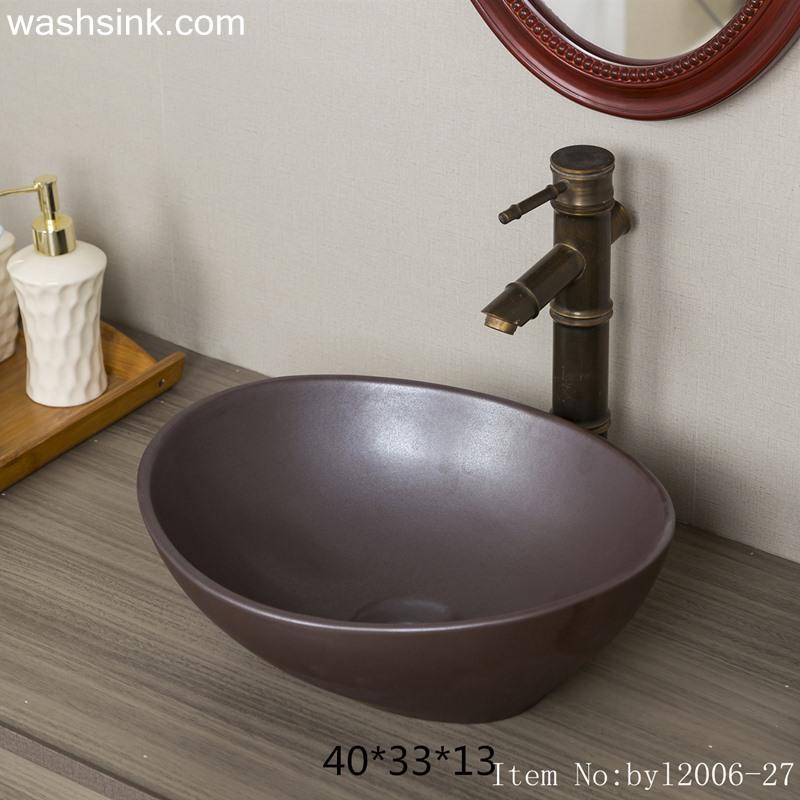 Dark brown oval ceramic wash basin byl2006-27