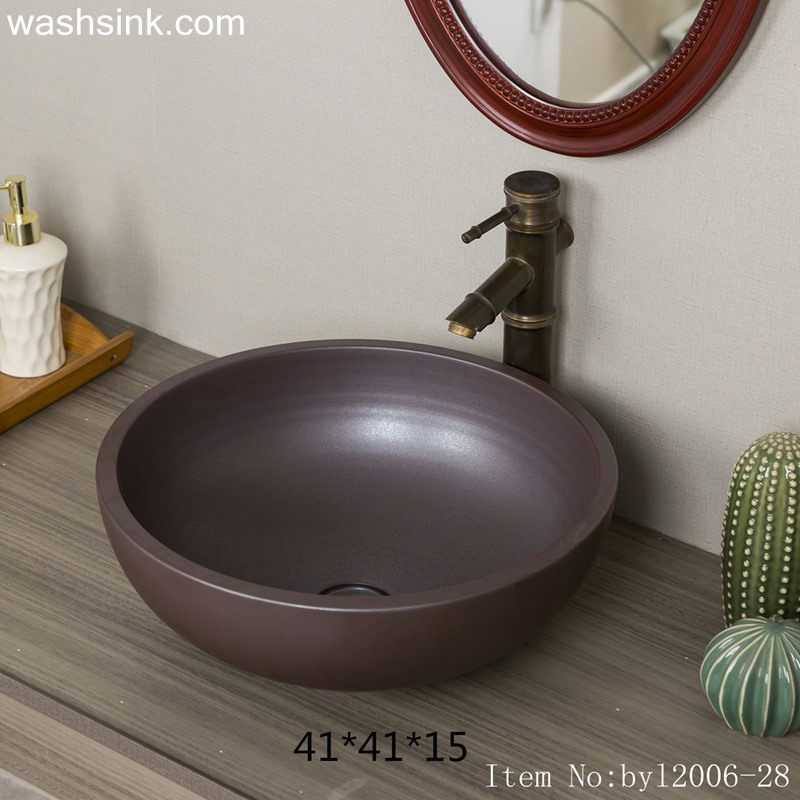 Dark brown round ceramic table basin byl2006-28