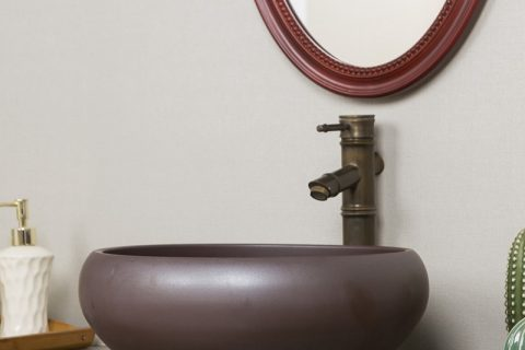 byl2006-29 Dark brown round ceramic table basin