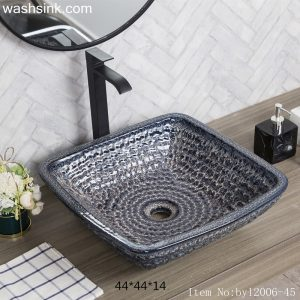 byl2006-45 Color glazed orchid glazed square ceramic table basin