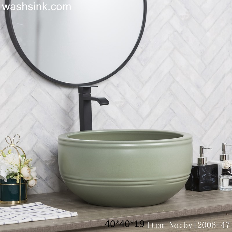 Pea green marbled round ceramic table basin byl2006-47