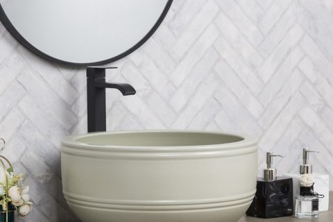 byl2006-49 White marbled round ceramic table basin