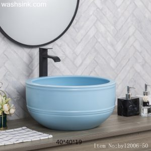 byl2006-50 Blue marbled round ceramic table basin