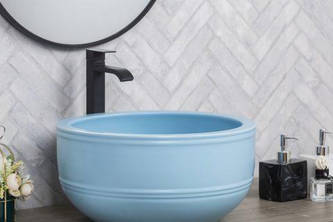 byl2006-50 Blue marbled round ceramic table basin