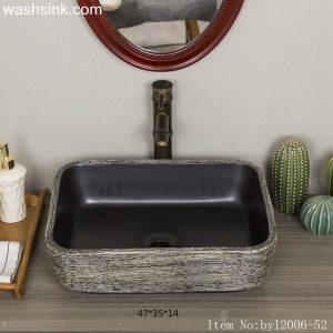 byl2006-52 Black marble tree pattern porcelain table basin