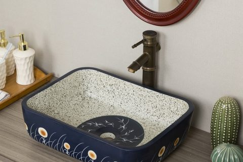 byl2006-58 Marbled blue flowered porcelain table basin