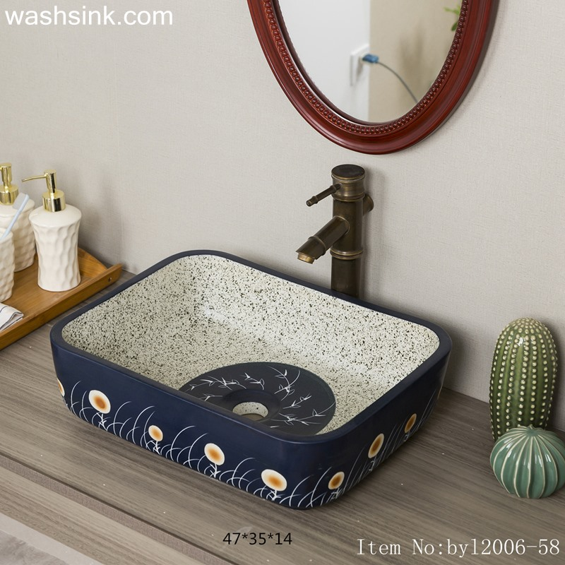 Marbled blue flowered ceramic table basin byl2006-58