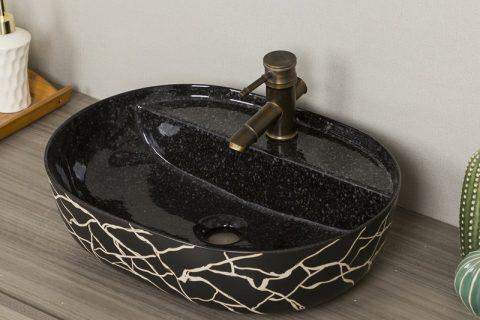byl2006-62 Marbled black striped porcelain table basin