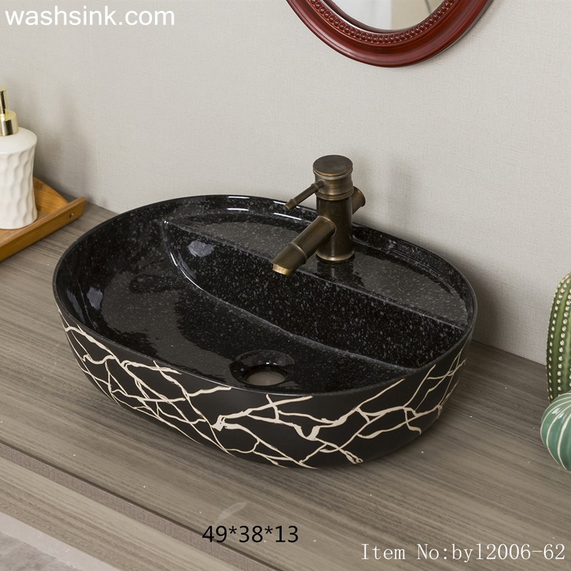 Marble black striped ceramic table basin byl2006-62