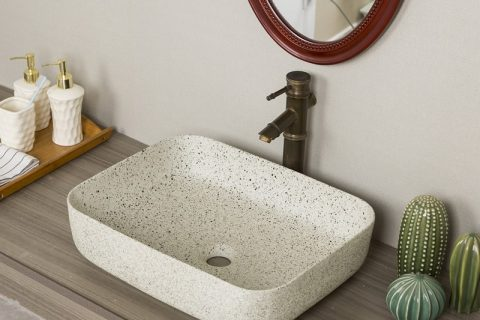 byl2006-66 Marbled white porcelain table basin