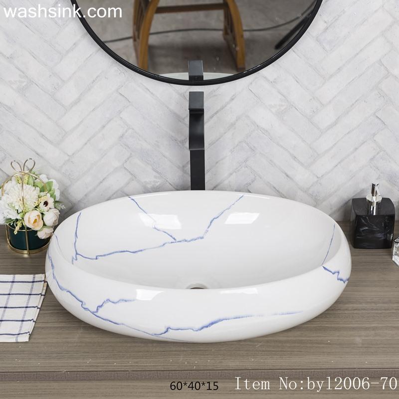 Oval marbled blue striped ceramic table basin byl2006-70