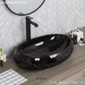 byl2006-71 Color glazed oval marbled black striped ceramic washbasin