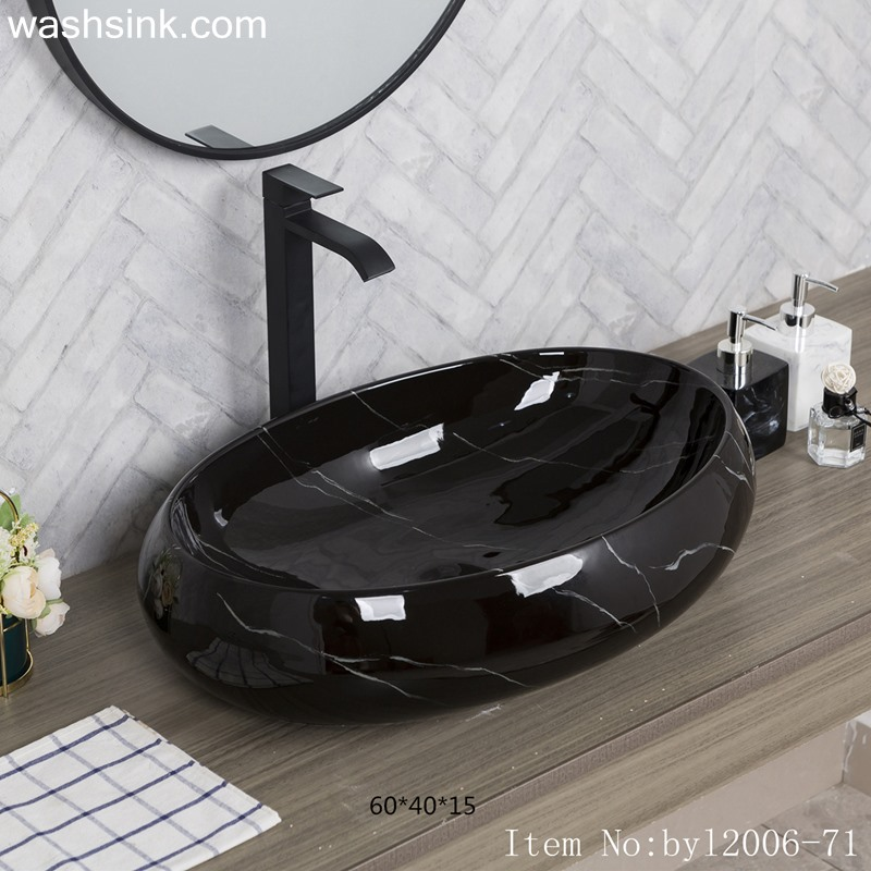 Color glazed oval marbled black striped porcelain table basin byl2006-71