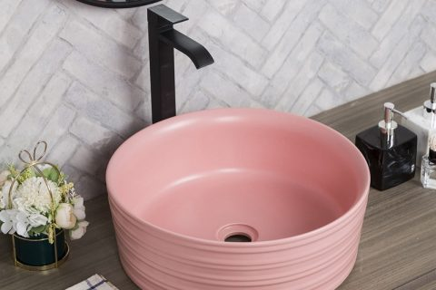 byl2006-75 Color glaze pink round ceramic table basin