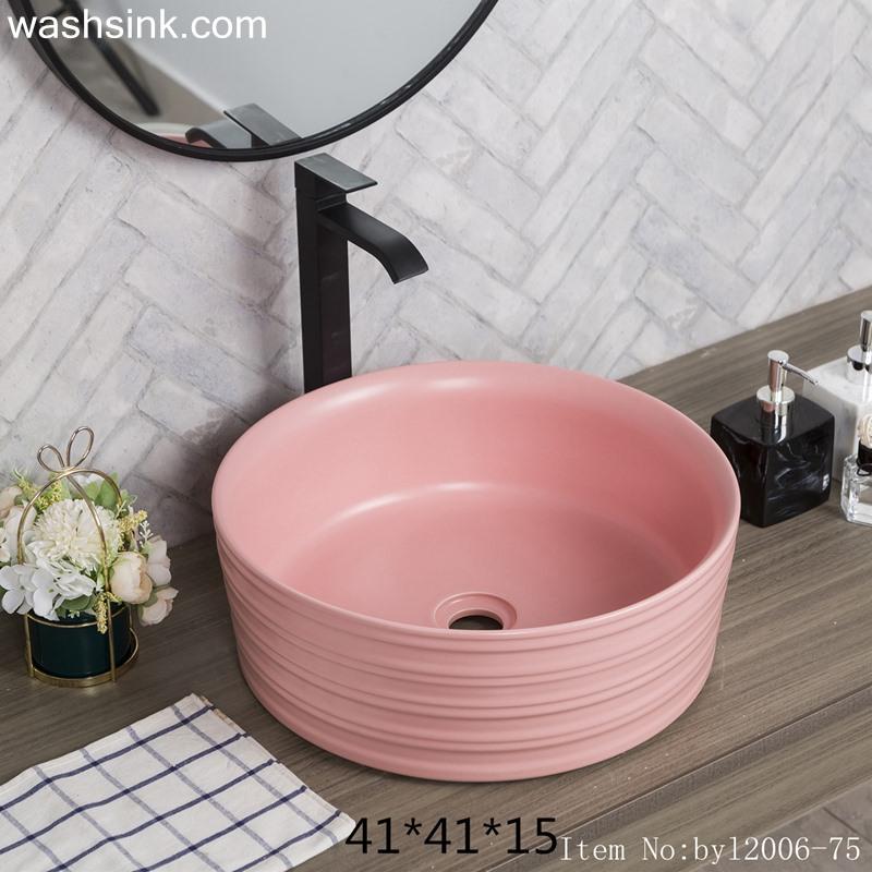 Color glaze pink round ceramic table basin byl2006-75