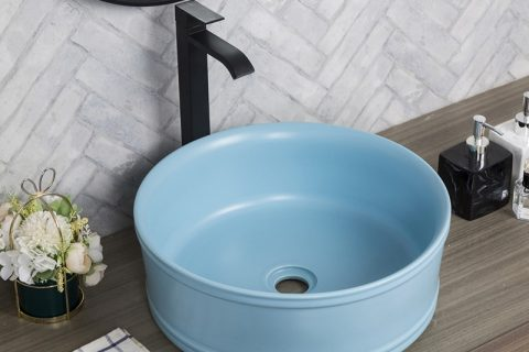 byl2006-76 Blue glazed round porcelain wash basin