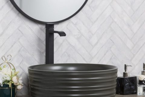byl2006-81 Color glaze black round ceramic table basin