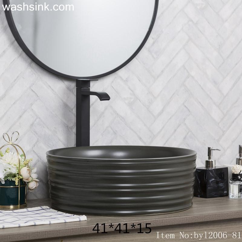 Color glaze black round porcelain table basin byl2006-81