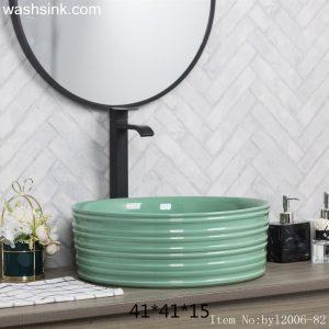 byl2006-82 Green glazed round ceramic wash basin