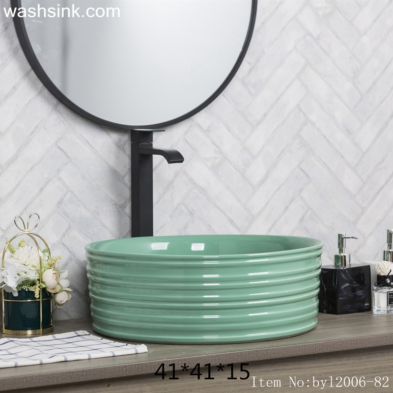 Green glazed round porcelain wash basin byl2006-82