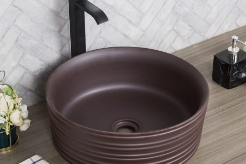 byl2006-83 Brown glazed round porcelain wash basin