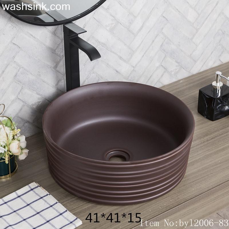 Brown glazed round ceramic wash basin byl2006-83