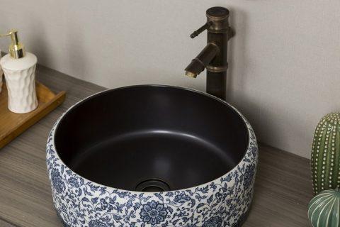 byl2006-86 Blue pattern round porcelain wash basin