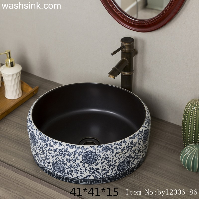 Blue pattern round ceramic table basin byl2006-86