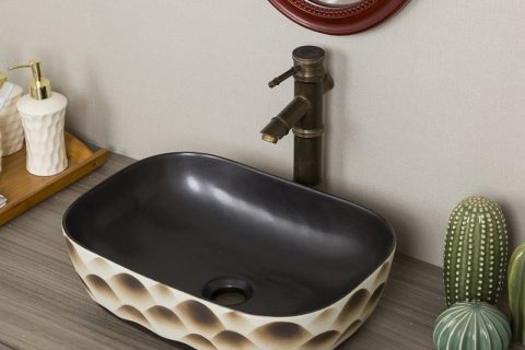 byl2006-88 Color glaze pattern rectangular porcelain wash basin