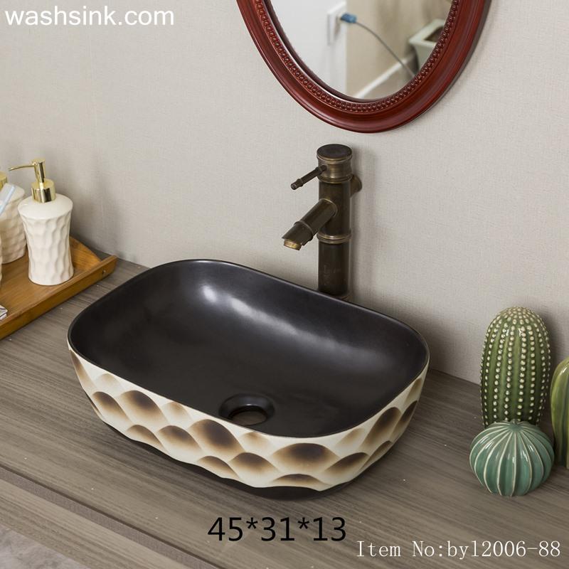 Color glaze pattern rectangular ceramic table basin