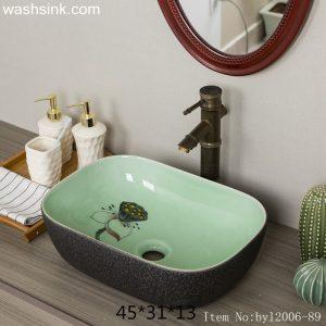 byl2006-89 Colored glazed lotus nut pattern rectangular ceramic washsink