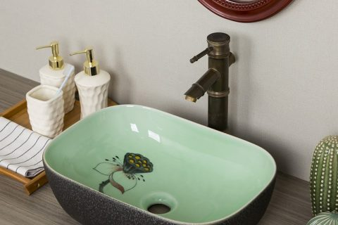byl2006-89 Colored glazed lotus nut pattern rectangular ceramic washsink