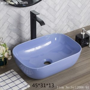 byl2006-91 Color glaze purple rectangular ceramic table basin