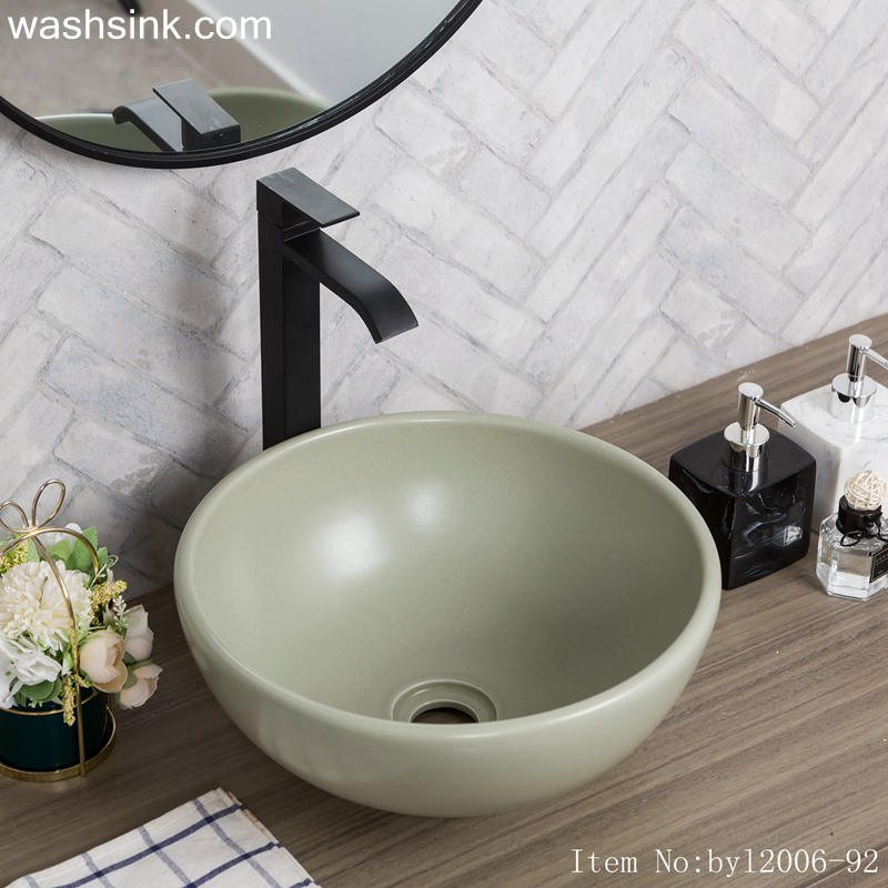 Color glaze gray round porcelain wash basin byl2006-92