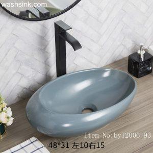 byl2006-93 Color glaze grey blue oval ceramic table basin