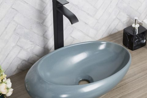 byl2006-93 Color glaze grey blue oval ceramic table basin