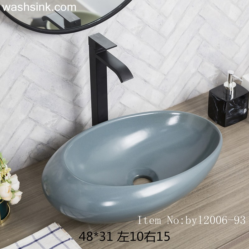 Color glaze grey blue oval pocelain table basin byl2006-93