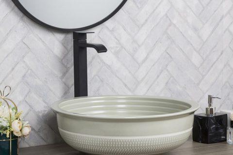 byl2006-97 Color glaze gray round porcelain table basin